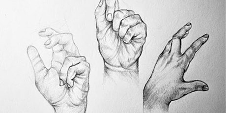 60min Human Anatomy Sketching  Art Lesson -  Hands  @3PM (Ages 6+) tickets