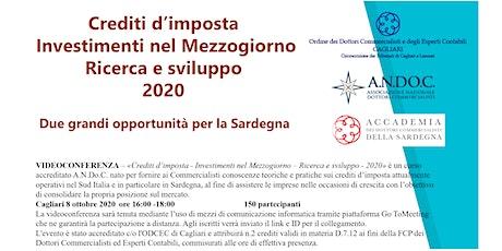 Crediti d'imposta - Investimenti nel Mezzogiorno Ricerca e Sviluppo 2020 biglietti