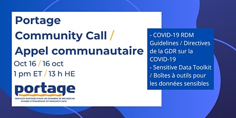 Portage Community Call: COVID-19 RDM Guidelines & Sensitive Data Toolkit tickets