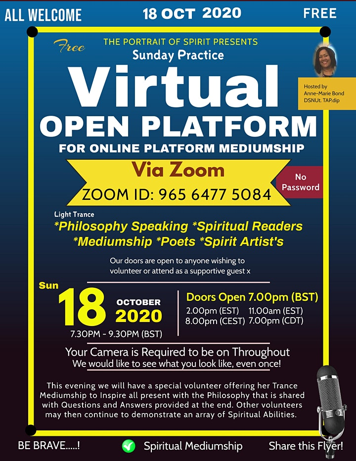 Mediumship Demonstrations - Open Platform to Practice Live via Zoom (FREE) image