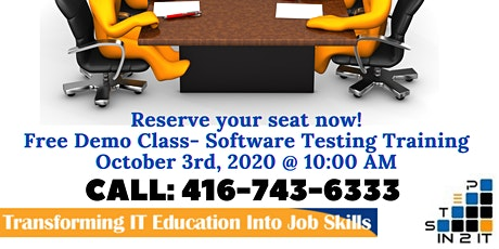 Free Demo Class for Software Testing on October 3rd, 2020 tickets