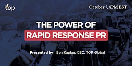 Vancouver Webinar-The Power of Rapid Response PR tickets