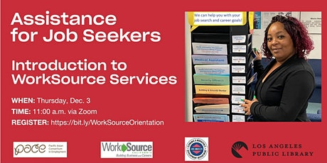 Assistance for Job Seekers - Orientation to WorkSource Services tickets