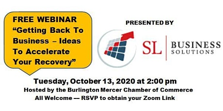 """FREE WEBINAR """"Getting Back to Business - Ideas to Accelerate Your Recovery"""" tickets"""