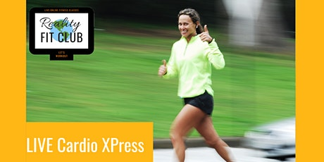 Mondays 10am PST LIVE Cardio Xpress:30 min Fat Burning Cardio Home Workout entradas
