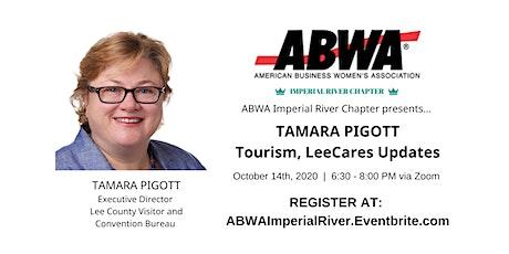 Oct 14th – Tamara Pigott on tourism, LeeCares tickets