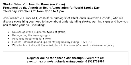 Stroke: What You Need to Know (on Zoom) tickets