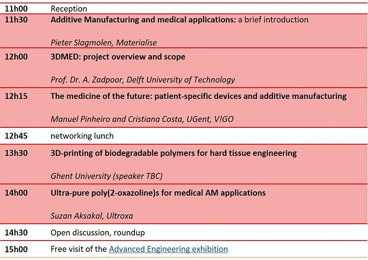 AM for medical applications: a 3DMED consortium conference image