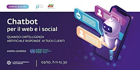 """""""Chatbot per il web e i social"""" biglietti"""
