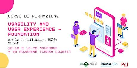 Corso CPUX-F Online 12-13 e 19-20 Novembre 2020 biglietti