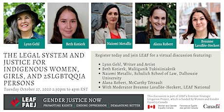 Legal System & Justice for Indigenous Women, Girls, and 2SLGBTQQIA Persons tickets