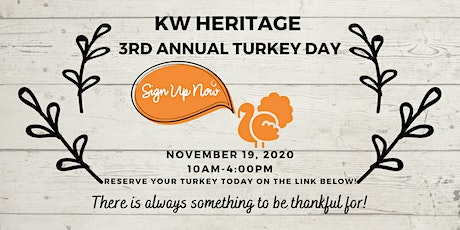 3rd Annual KW Heritage Turkey Day tickets