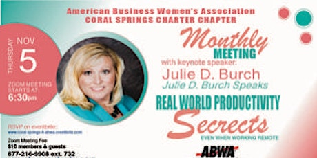 ABWA Coral Springs November, 2020 Monthly Meeting tickets