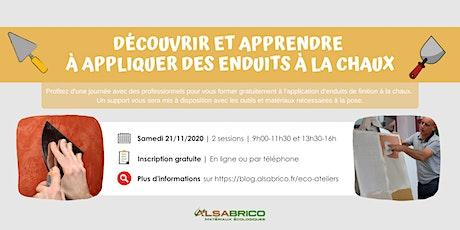 Découverte et application d'enduits fin à la chaux (Eco-ateliers - GRATUIT) tickets