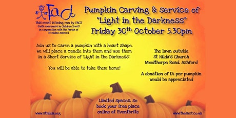 Pumpkin carving and service of light in the darkness.