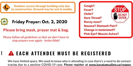 1.45 pm KMA Friday Prayer (Oct. 2) led by Br. Muhammad Nummer tickets