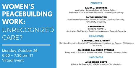 Women's Peacebuilding Work – Unrecognized Care? tickets