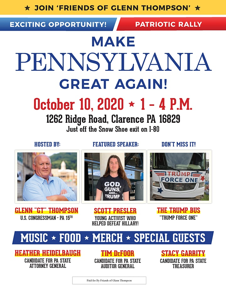 Congressman GT's MAKE PENNSYLVANIA GREAT AGAIN Rally image