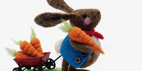 NEEDLE FELTED BUNNY PULLING A TROLLEY
