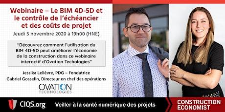 Le BIM 4D-5D et le contrôle de l'échéancier et des coûts de projet billets