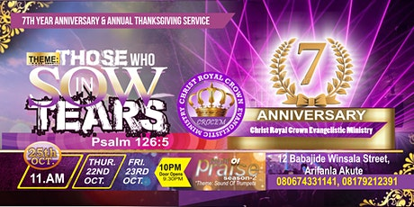 CROCEM 7th Year Anniversary And Annual Thanksgiving Service 2020 tickets