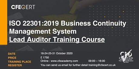 ISO 22301:2019 Business Continuity Management System Lead Auditor Course tickets