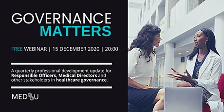 MEDSU Governance Matters Webinar - December 2020 tickets