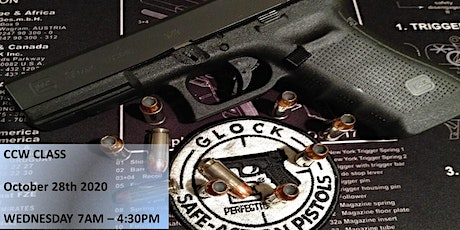 Concealed Pistol License aka CCW Training Wednesday October 28th 7am to 5pm tickets