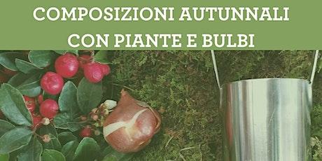 Composizioni autunnali con piante e bulbi biglietti