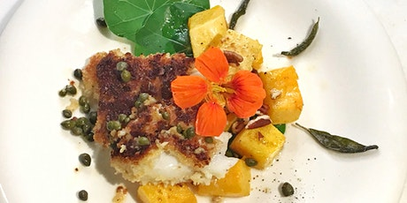 Breaded Cod Loin and Roasted Butternut Squash interactive cooking class tickets