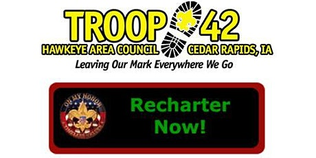 Troop 42 Re-charter for 2021 program year tickets