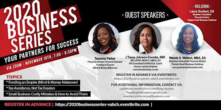 Confirm Today!  2020 Business Series,  7:00PM, Tuesday, Nov. 10th via ZOOM image