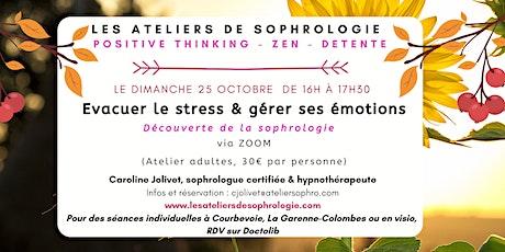 Atelier de sophrologie en VISIO : Évacuer le stress, gérer ses émotions billets