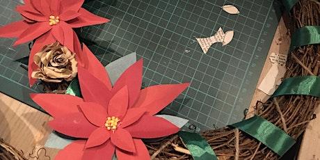 Christmas paper flower wreaths tickets