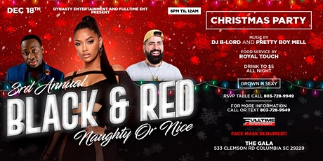 Black and red naught or nice Christmas party tickets