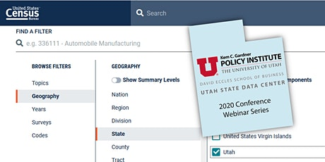 Utah State Data Center Webinar Series tickets