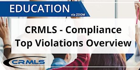 CRMLS Top Violations in Paragon - Overview tickets