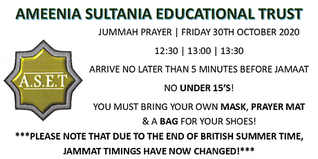 Jummah Jamaat - Friday 30th October 2020 tickets