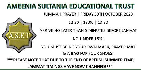 Jummah Jamaat - Friday 30th October 2020 tickets