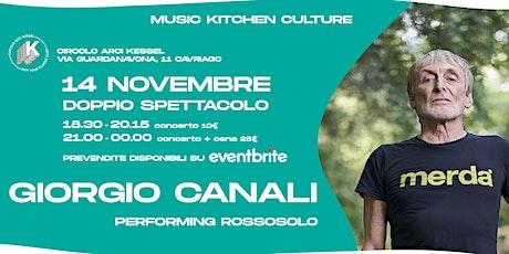 Giorgio Canali: Rossosolo | Kessel - Cavriago (RE) | Cena + Concerto biglietti