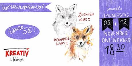 Workshop Tierportraits Kombikurs - Live Onlinekurs - Kreativ zu Hause Tickets