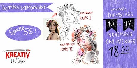 One-Line-Drawings Kombikurs - Live Onlinekurs - Kreativ zu Hause Tickets