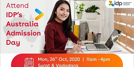 Attend IDP's Australia Admissions Day in Vadodara and Suat tickets