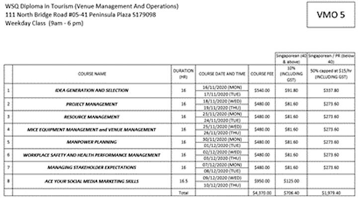 Venue Management Courses   Tourism Diploma   WSQ FREE Consultation image