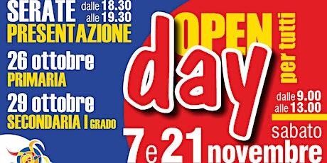 Open Day ELEMENTARI - Sabato 7 Novembre dalle 9.30 alle 10.30 biglietti