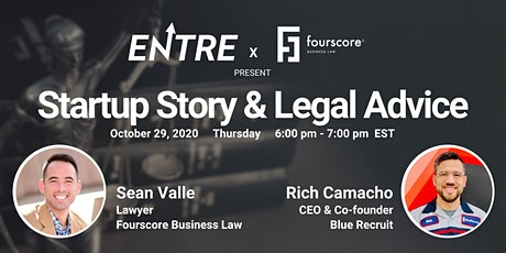 Startup Story & Legal Advice with CEO of Blue Recruit tickets