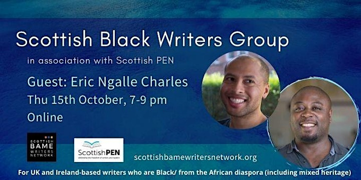 Yellow text on blue background with event details. Photos of two Black men - Dean Atta and Eric Ngalle Charles