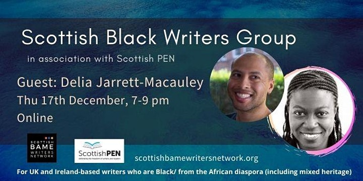 Yellow text on blue background with event details. Photos of a Black man (Dean Atta) and a Black woman (Delia Jarrett-Macauley)