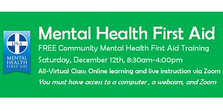 FREE Community Mental Health First Aid Class tickets