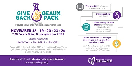Give Back Geaux Pack - Geaux Bags Service Event for children in foster care tickets